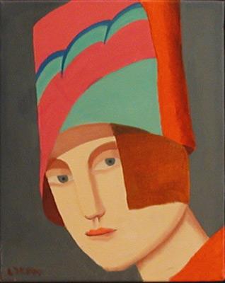 Louise SCOTT - Portrait au chapeau vert, rose et rouge (1999)