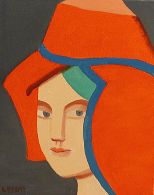 Louise SCOTT - Portrait au chapeau rouge