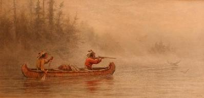 Indians in a canoe hunting a moose (1884) - Frederick Arthur Verner