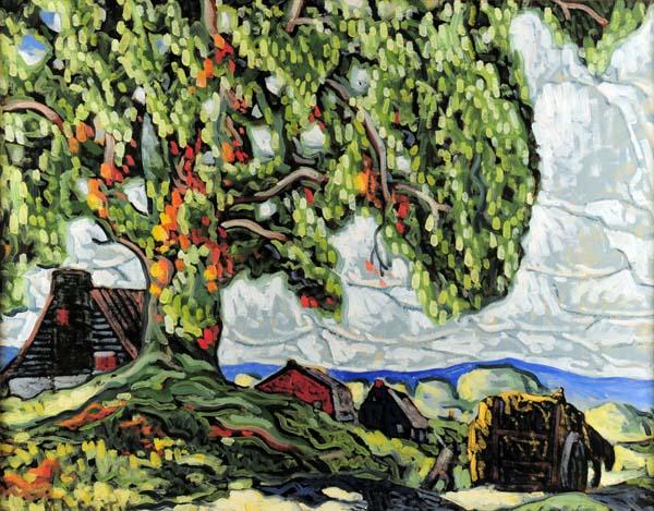 Marc-Aurèle FORTIN - Grand arbre et maisons l'été (c. 1930)