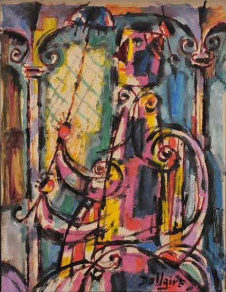 Jean DALLAIRE - Jeune femme au parapluie (1957)