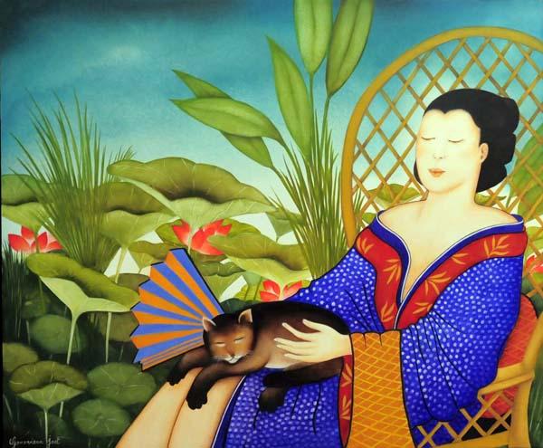 Geneviève JOST - Dame au lotus