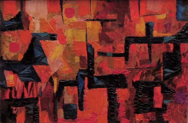 Fritz BRANDTNER - Composition en rouge et noir (c. 1955)