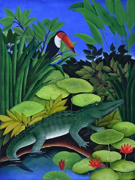 Geneviève JOST - Crocodile et toucan