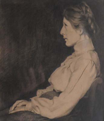 Ozias LEDUC - Portrait de femme assise de profil (1900)