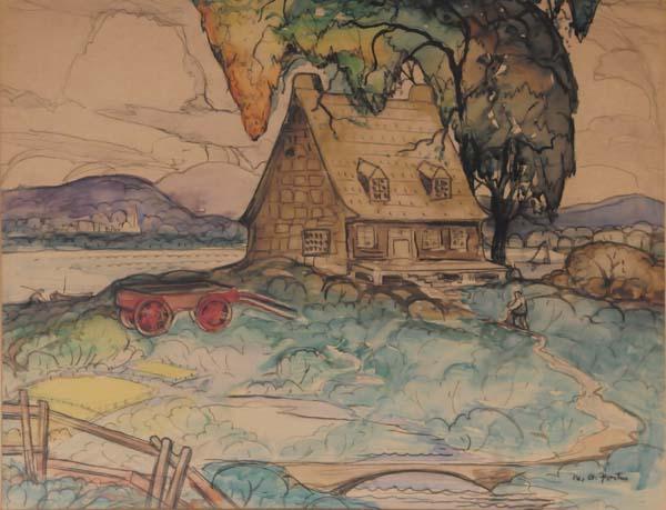 Marc-Aurèle FORTIN - Maison sur le bord de l eau (c. 1945)