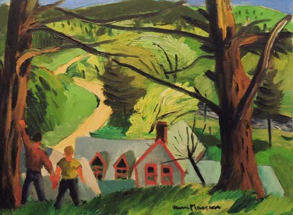 Henri MASSON - Paysage et personnages (c. 1945)