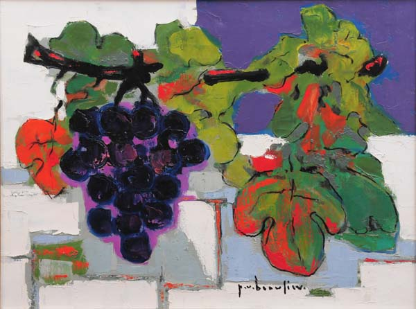 Paul-Vanier BEAULIEU - Nature morte raisin fond bleu (c. 1955)