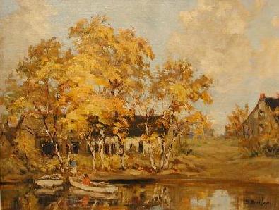 Berthe DES CLAYES - Scène d'automne avec barque
