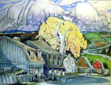 Maisons et grand arbre (c.1940) - Marc-Aurèle Fortin