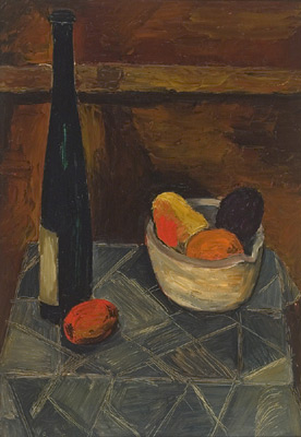 Solange LEGENDRE - Nature morte à la bouteille et au bol de fruits (1951)