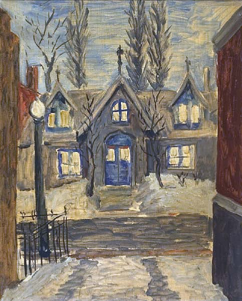 Solange LEGENDRE - Maisons  lucarnes, rue Durocher l&#039;hiver