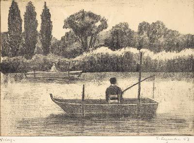 Solange LEGENDRE - Pêcheur sur l'Allier à Vichy (1953)