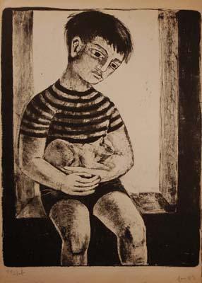 Solange LEGENDRE - Petit garçon au chat (1953)