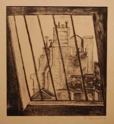 Solange LEGENDRE - Vue des toits à travers une lucarne (1953)