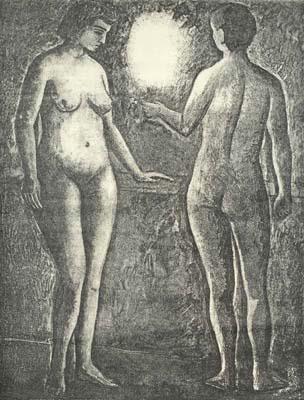 Couple nu éclairé par une torche (1953) - Solange Legendre