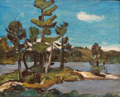 Lac a St Alphonse-1941- et paysage au verso - Goodridge Roberts