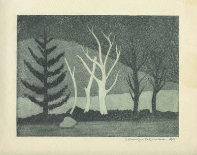 Solange LEGENDRE - Arbres au bord du lac (1949/1950)