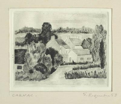 Solange LEGENDRE - Carnac- Paysage avec maisons (1953)