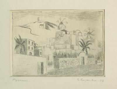 Solange LEGENDRE - Myconos- Maisons & moulins (1953)