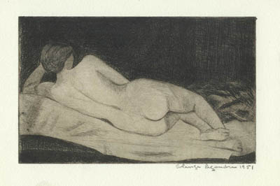 Solange LEGENDRE - Nu couché de dos (1951)