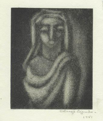 Solange LEGENDRE - Tête de femme drapée (1951)