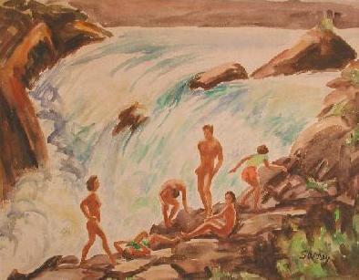 Baigneurs au bord des chutes (vers 1950) - Philip Surrey