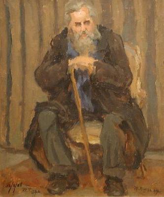 Rodolphe DUGUAY - Vieux personnage à la canne (1926)