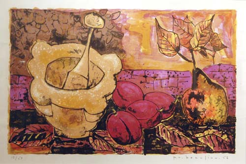 Paul-Vanier BEAULIEU - Nature morte au mortier & prunes (1956)