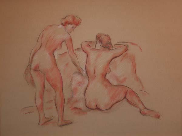 Herman HEIMLICH - Two Nude Figures (c. 1948)