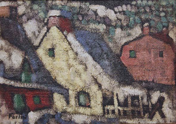 Marc-Aurèle FORTIN - Maisons de Charlevoix l'hiver (c. 1938)