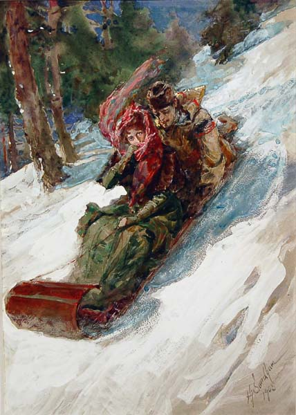 Tobogganing (1905) - Henri Sandham