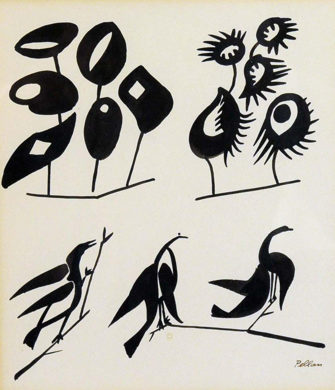 Les oiseaux aux bouquets (c. 1950) - Alfred Pellan