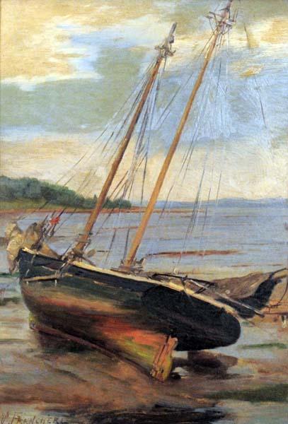Joseph Marie Charles FRANCHèRE - Goélette échouée à marée basse (c. 1910)