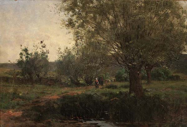 Allan A. EDSON - Figures in a wooded Landscape (c. 1880)