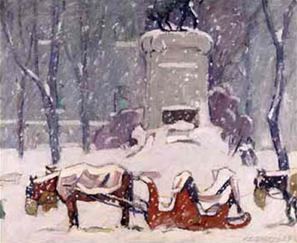 Peter Clapham SHEPPARD - Cabstand, Winter, Dominion square, Montreal (c. 1926)