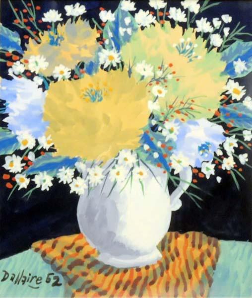 Jean DALLAIRE - Nature morte aux fleurs et à la nappe rayée (1952)