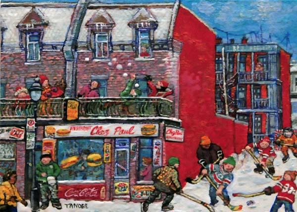 Miyuki TANOBE - La scène d'hiver à Pointe-St-Charles (Restaurant Chez Paul)