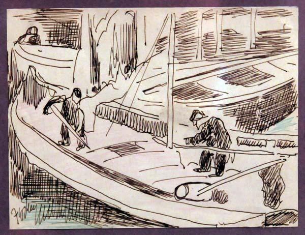 Marc-Aurèle FORTIN - Les pêcheurs (c. 1950)