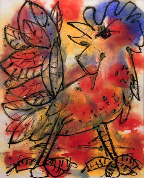 Paul-Vanier BEAULIEU - Coq rouge, jaune et bleu (1963)