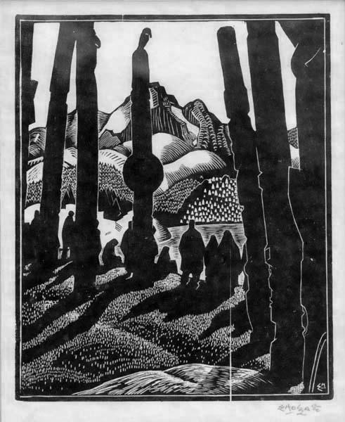 Edwin HOLGATE - Departing people, Skina River (1926)
