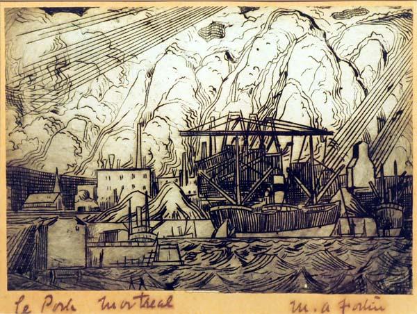 Marc-Aurèle FORTIN - Le port Montréal (c. 1930)