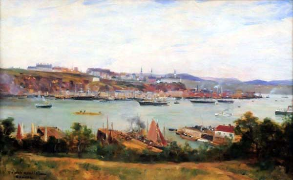 Gaston ROULLET - Quebec from Levis (1887)