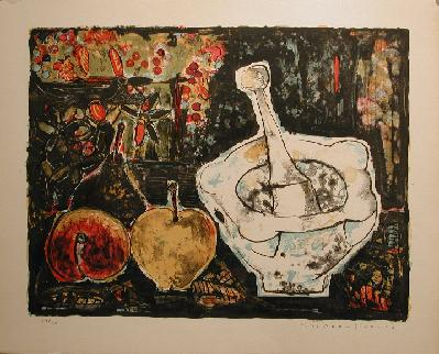 Paul-Vanier BEAULIEU - Nature morte au mortier & pommes (1956)