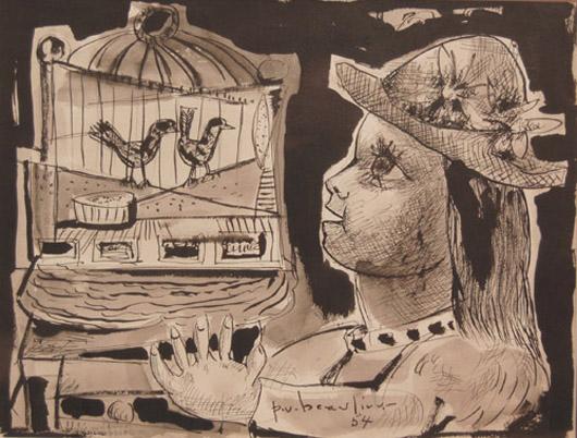Paul-Vanier BEAULIEU - Jeune fille à la cage d'oiseaux (1954)