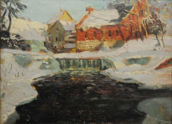 John Young JOHNSTONE - Watermill Winter, Québec (c. 1917)