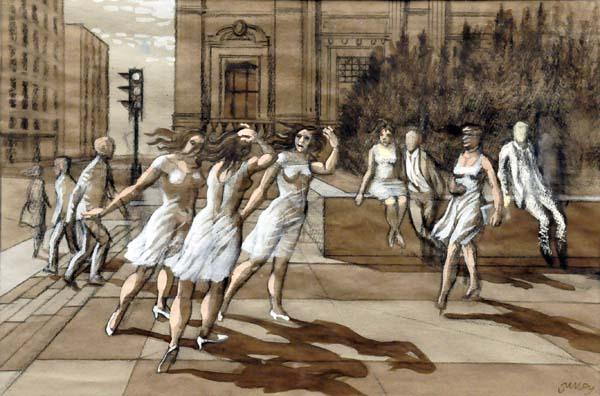 Philip SURREY - Figures Walking in Urban Landscape