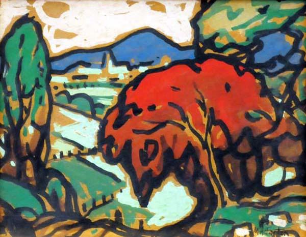 Marc-Aurèle FORTIN - Paysage à l'arbre rouge (c. 1950)