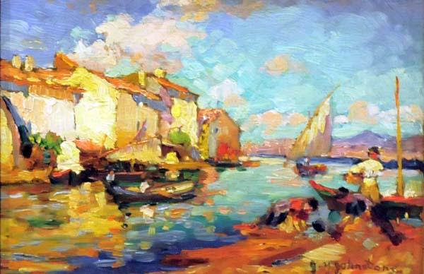 John Young JOHNSTONE - Harbour Scene in Cuba (1930)
