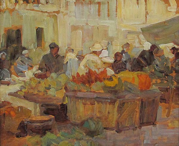 Helen MCNICOLL - Market Place (c. 1910)
